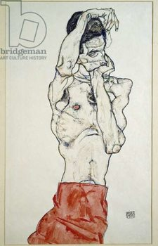 Male nude with red sheet (self-portrait). Drawing by Egon Schiele , 1914. Pencil, watercolor and tempera on paper. Dim: 48x32cm. Vienna, Graphische Sammlung Albertina Reproducere