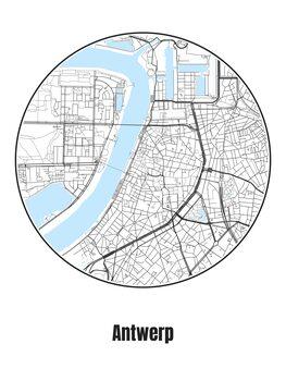 Ilustrare Map of Antwerp