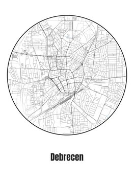 Ilustrare Map of Debrecen