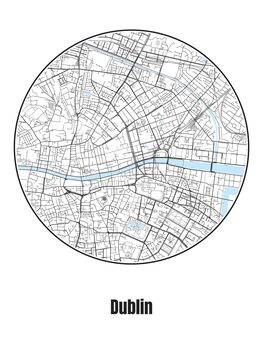 Ilustrare Map of Dublin