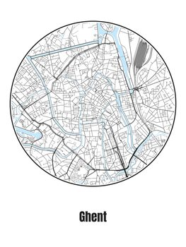 Ilustrare Map of Ghent