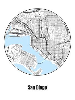 Ilustrare Map of San Diego