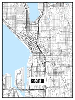 Ilustrare Map of Seattle