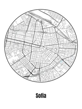 Ilustrare Map of Sofia