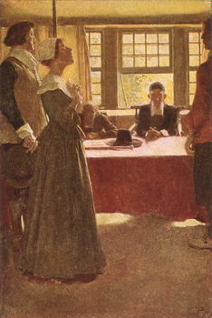 Mary Dyer Brought Before Governor Endicott, illustration from 'The Hanging of Mary Dyer' by Basil King, pub. in McClure's Magazine, 1906 Reproducere