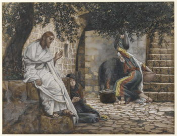 Mary Magdalene at the Feet of Jesus, illustration from 'The Life of Our Lord Jesus Christ', 1886-94 Reproducere