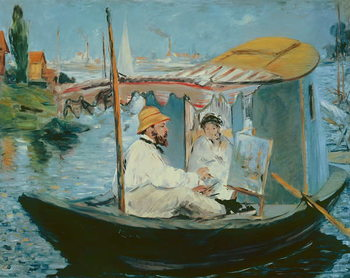Monet in his Floating Studio, 1874 Reproducere