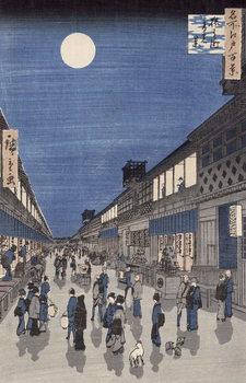 Night time view of Saruwaka Street, from 'Meisho Edo Hyakkei' (One Hundred Views of Edo) Reproducere