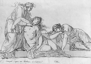 Old woman leaning over two fainting women, c.1776 Reproducere
