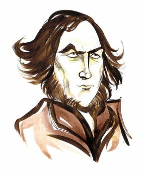 Robert Browning - caricature of English poet Reproducere