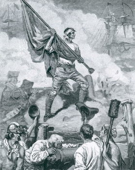 Sergeant Jasper at the Battle of Fort Moultrie, June 28th 1776, illustration from 'The Dawning of Independence' by Thomas Wentworth Higginson, pub. in Harper's Magazine, 1883 Reproducere