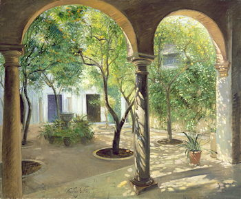 Shaded Courtyard, Vianna Palace, Cordoba Reproducere