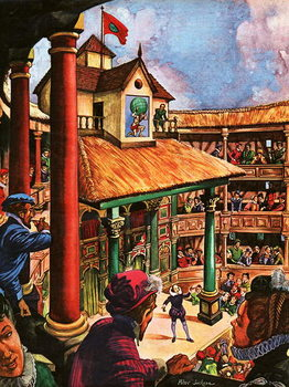 Shakespeare performing at the Globe Theatre Reproducere
