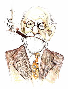 Sigmund Freud Austrian neurologist and psychotherapist of Czech birth ; caricature Reproducere