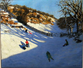 Snow in the valley, near Monyash, Derbyshire Reproducere