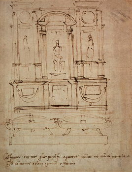 Study for a double tomb for the Medici Tombs in the New Sacristy, 1521 Reproducere