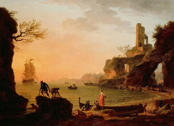 Sunset, Fishermen Pulling in Their Nets, 1760 Reproducere