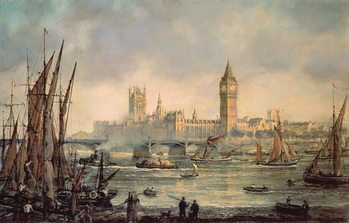 The Houses of Parliament and Westminster Bridge Reproducere