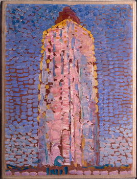 The lighthouse of Westkapelle, Veere, Zelande (Lighthouse of Westkapelle, Netherlands) Painting by Piet Mondrian , 1909-1910 Dim 39x29 cm Milan museo del novecento Reproducere
