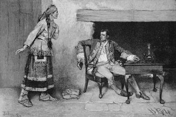 The Ojibway Maiden Disclosing Pontiac's Plot, engraved by John Tinkey (fl.1871-1901) illustration from 'The City of the Strait' by Edmund Kirke, pub. in Harper's Magazine, 1886 Reproducere