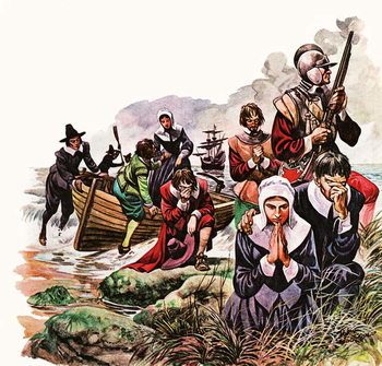 The Pilgrim Fathers land in America Reproducere