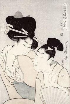 The pleasure of conversation, from the series 'Tosei Kobutsu hakkei' (Eight Modern Behaviours) c.1803 Reproducere