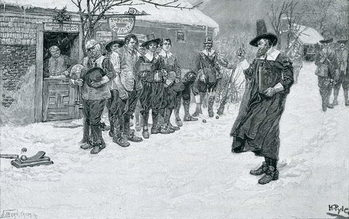 The Puritan Governor Interrupting the Christmas Sports, engraved by J. Bernstrom, illustration from 'Christmas' by George William Curtis, pub. in Harper's Magazine, 1883 Reproducere