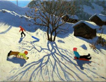 Winter hillside, Morzine, France Reproducere