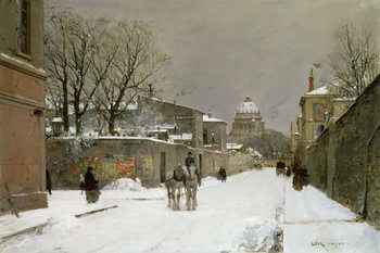 Winter Scene near Les Invalides, Paris Reproducere