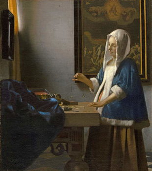 Woman Holding a Balance, c.1664 Reproducere