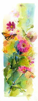 Zinnias and butterflies, 2015, Reproducere
