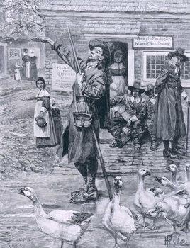A Quaker Exhorter in New England, illustration from 'The Second Generation of Englishmen in America' by Thomas Wentworth Higginson, pub. in Harper's Magazine, 1883 Reprodukcija
