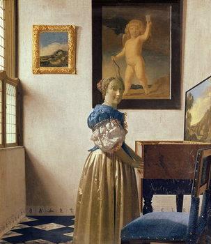 A Young Woman Standing at a Virginal, c.1670-72 Reprodukcija