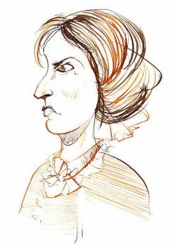 Charlotte Bronte - English novelist and poet ; caricature in profile Reprodukcija