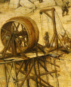 Crane detail from Tower of Babel, 1563 Reprodukcija