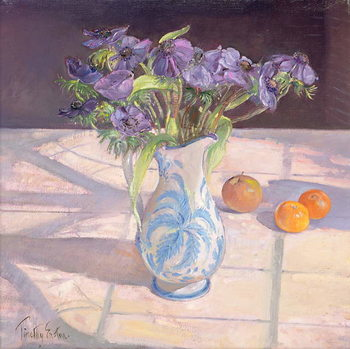 French Jug with Anemones Reprodukcija