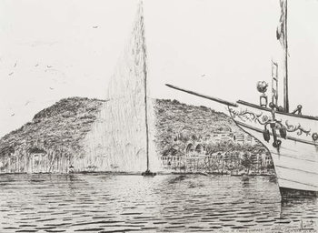 Geneva fountain and bow of pleasure cruiser, 2011, Reprodukcija