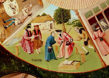 Greed, detail from the Table of the Seven Deadly Sins and the Four Last Things, c.1480 (oil on wood) Reprodukcija