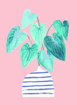 Ilustracija Houseplant in stripey vase