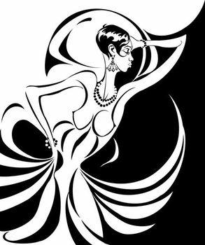 Josephine Baker, American dancer and singer , b/w caricature, in profile, 2006 by Neale Osborne Reprodukcija