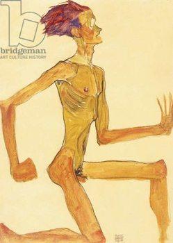 Kneeling Naked Man, in Profile to the Right (Self-Portrait), 1910 Reprodukcija