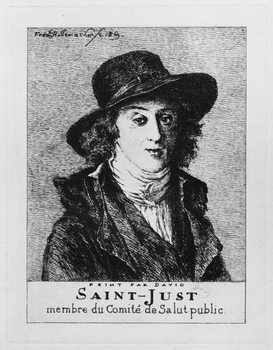 Louis Antoine Leon de Saint-Just, engraved by Frederic Desire Hillemacher (1811-86) 1869 Reprodukcija