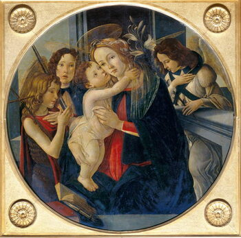 Madonna with Child, young St. John the Baptist and angels Reprodukcija