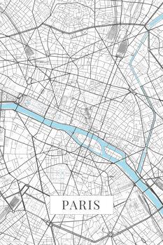 Zemljevid Paris white