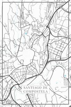 Zemljevid Santiago de Compostela white