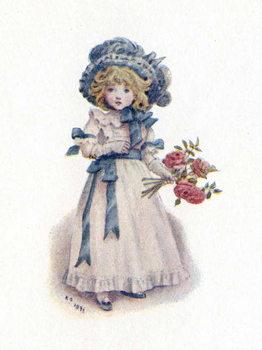 'Taking in the roses' by Kate Greenaway. Reprodukcija