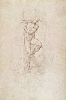 W.53r The Risen Christ, study for the fresco of The Last Judgement in the Sistine Chapel, Vatican Reprodukcija