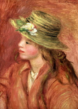 Young Girl in a Straw Hat, c.1908 Reprodukcija