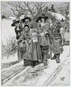 Arresting a Witch, engraved by J. Bernstrom, illustration from 'The Second Generation of Englishmen in America' by Thomas Wentworth Higginson, pub. in Harper's Magazine, 1883 Reprodukcija