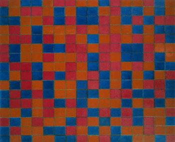 Checker board composition with dark colours, 1919, by Piet Mondrian . Netherlands, 20th century. Reprodukcija